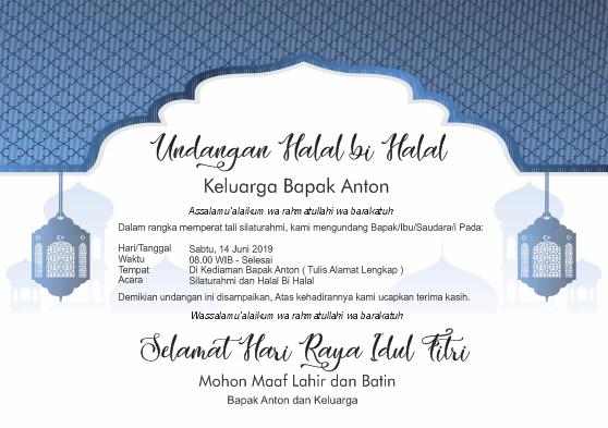 Contoh Desain Undangan Halal Bi Halal Idul Fitri 2019 Lengkap Tips