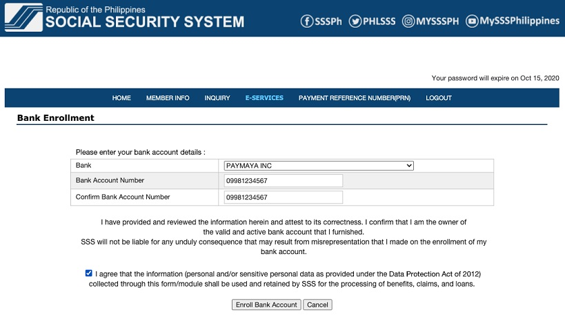 receive funds from SSS to PayMaya account