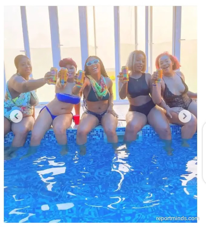 BBNaija's Mercy Eke and friends slays in their bikinis as they pose for selfie inside the pool