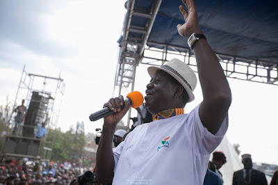Raila Odinga in Kamukunji grounds. PHOTO | FILE