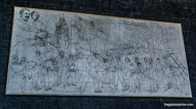 Esboço de um mural de Diego Rivera no Museu Anahuacalli, na Cidade do México