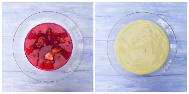 making strawberry trifle, jelly and custard layers in glass bowl