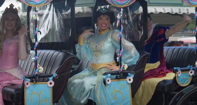 Princess Promenade Character Cavalcade, Belle, Sleeping Beauty, Jasmine, Snow White, Phased Reopening EPCOT Walt Disney World Resort