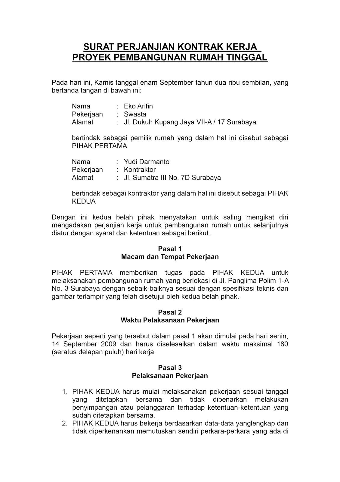 Analisa Kontrak Kerja Bima Haryadi