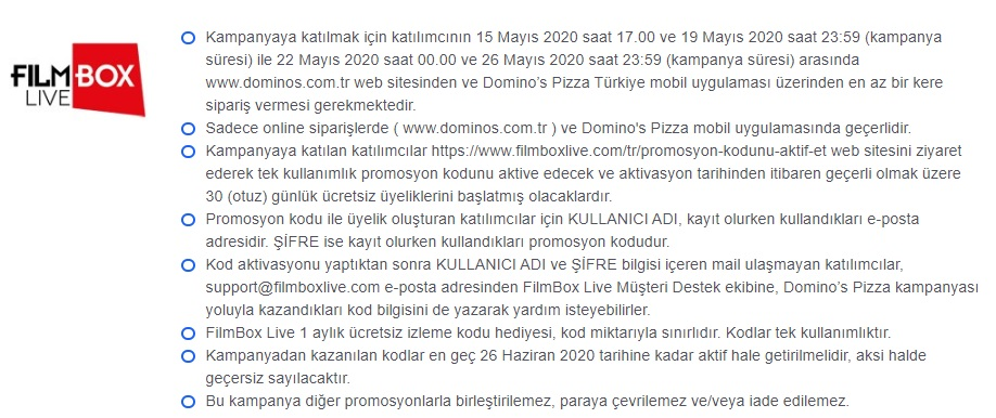 dominos pizza filmbox kampanyası