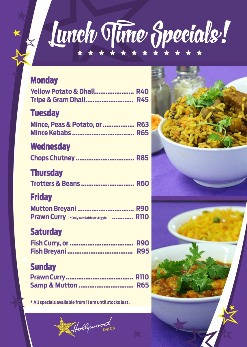 Hollywood Bunny Bar - Lunchtime Specials - Monday to Sunday - Curries, Chops Chutney, Breyani