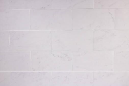 Carrara Marble Subway Tile Splashback for Hamptons Kitchen