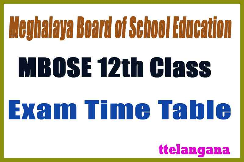 MBOSE 12th Exam Time Table