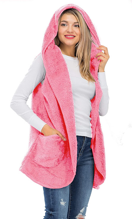 Hooded Pink Faux Fur Vests For Women