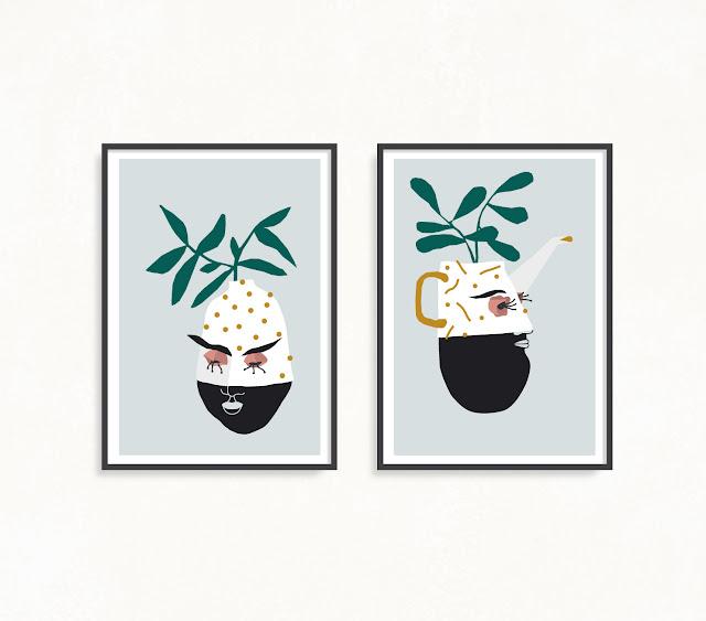 Ilustración de Jarra y Jarrón. Ilustración cerámica y plantas - Vase and tea por illustrations. Pottery ilustración