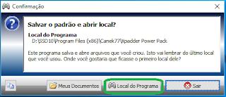 """Xpadder Passo 1.4: Escolha salvar os arquivos na pasta """"Local do Programa"""""""