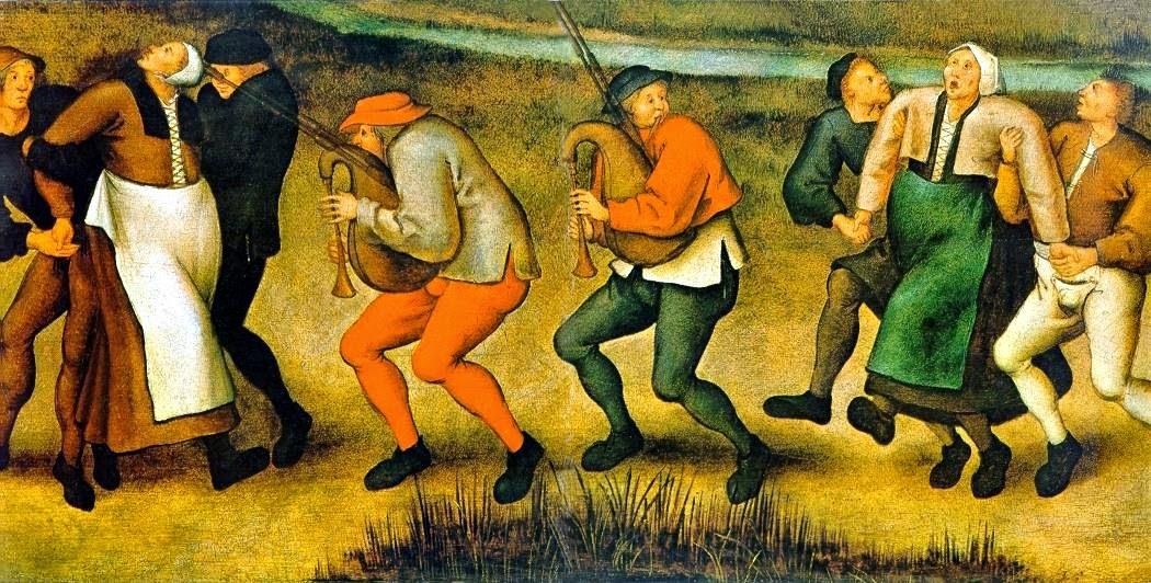 """Pieter Bruegel: """"Tanzmanie. Prozession der Epileptiker zur Kirche von Molenbeek"""", 1564"""