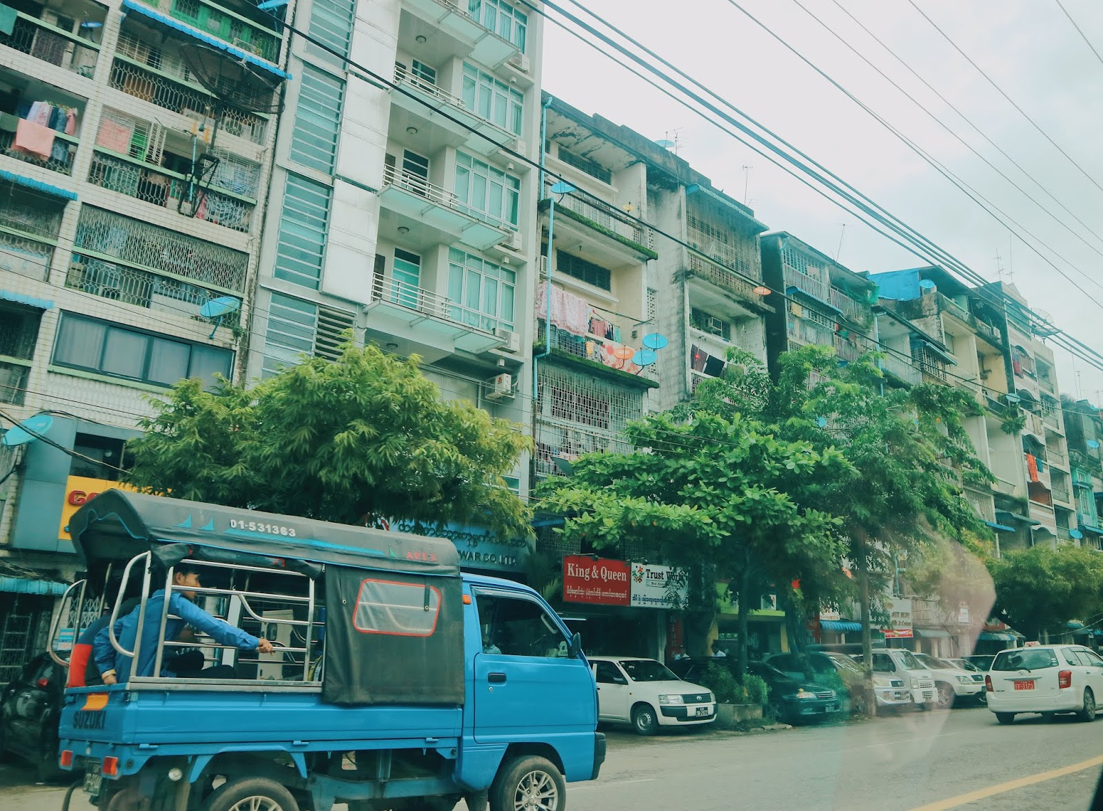 houses and buildings in Yangon downtown