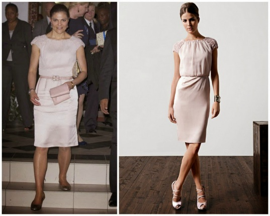 Crown Princess Victoria of Sweden wears Escada Silk Dress in Beige