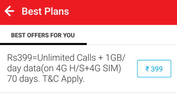 Airtel Offer with Unlimited Calls and Data at Just Rs. 399 for 70 Days
