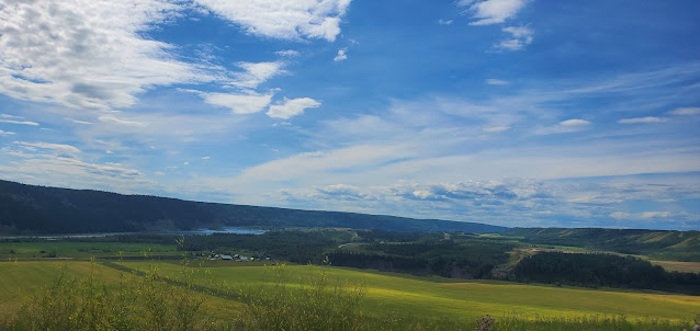Beautiful sky, river, farms at Peace River BC