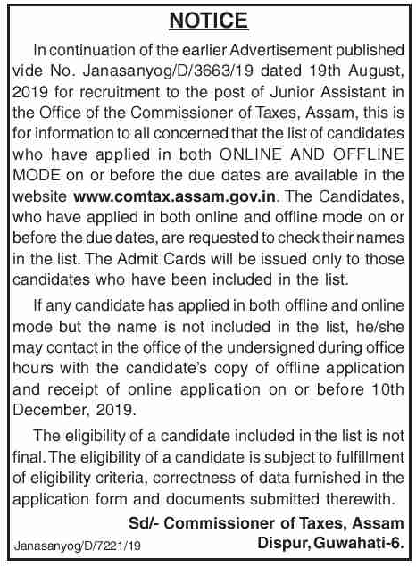 Commissioner Of Taxes, Assam Admit Card 2019