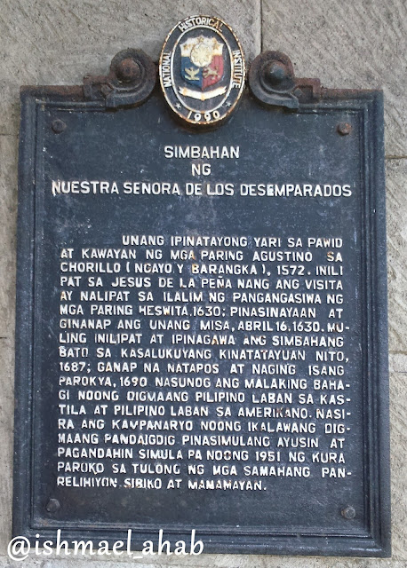 National Historical Institute marker for Our Lady of the Abandoned Church in Marikina CIty