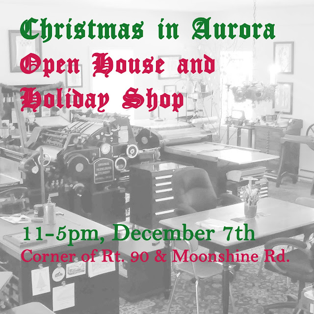 Poster reads Christmas in Aurora  Open House and  Holiday Shop  11-5pm, December 7th Corner of Rt. 90 & Moonshine Rd.