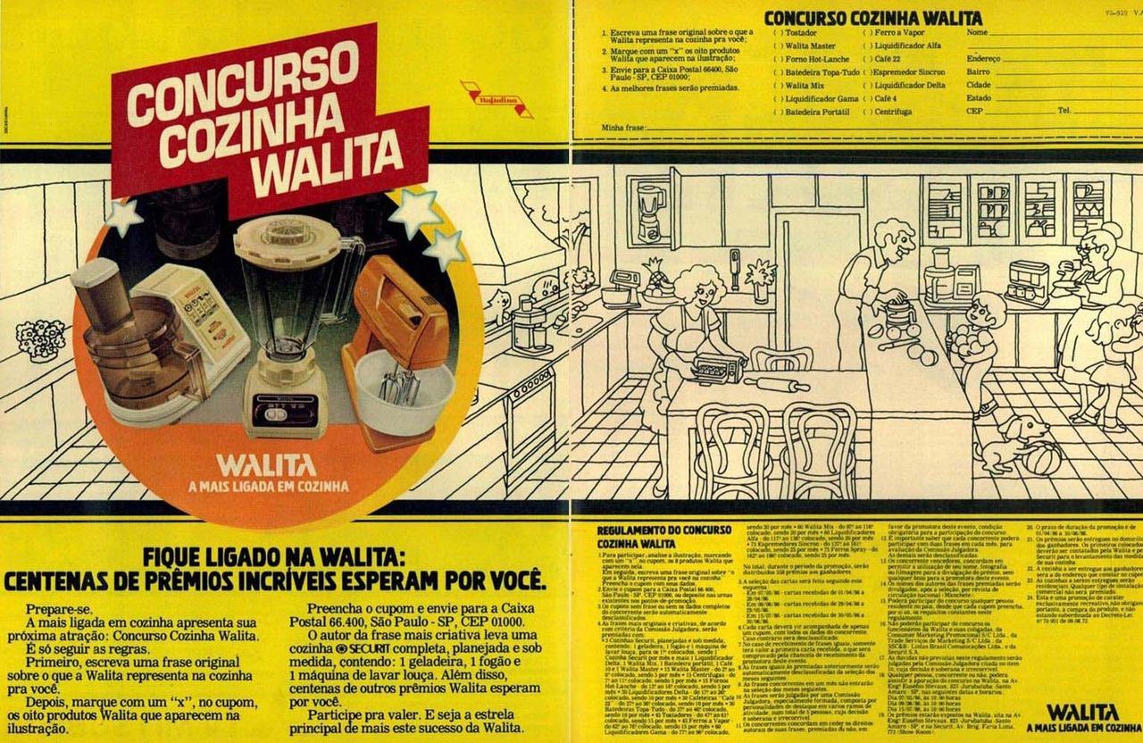 Propaganda antiga com uma promoção da Walita apresentada em 1986