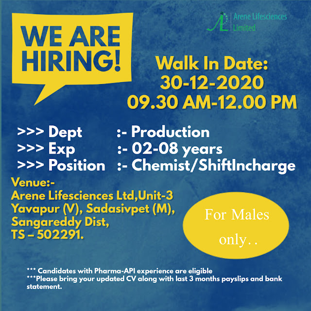 Arene Lifesciences Limited WalkIn Interviews for Production Department on 30th Dec 2020