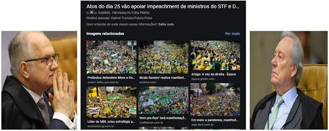 O Povo nas ruas põe medo em ministros do STF - que andam expelindo artigos na imprensa com ameaças indireta ao governo federal temendo medidas de urgência para acabar com a bagunça que estão fazendo com o Brasil