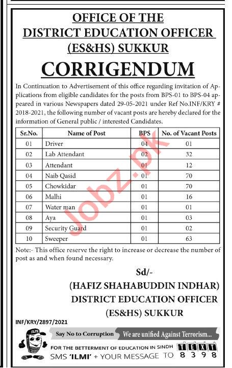 Jobs in District Education Officer