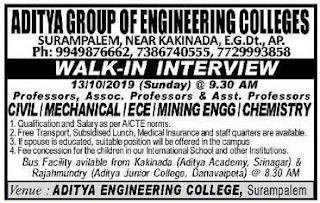 Aditya Engineering  Colleges Surampalem Associate Professor, Assistant Professor Jobs Recruitment 2019