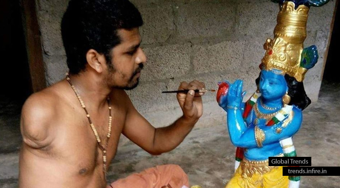 Sanoj Nadayil Handicapped Artist from Punalur Kollam