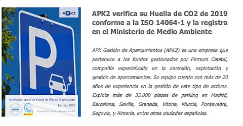 Portada de la Memoria con el Inventario de Gases de Efecto Invernadero emitidos por APK en 2019 (alcance 1+2)