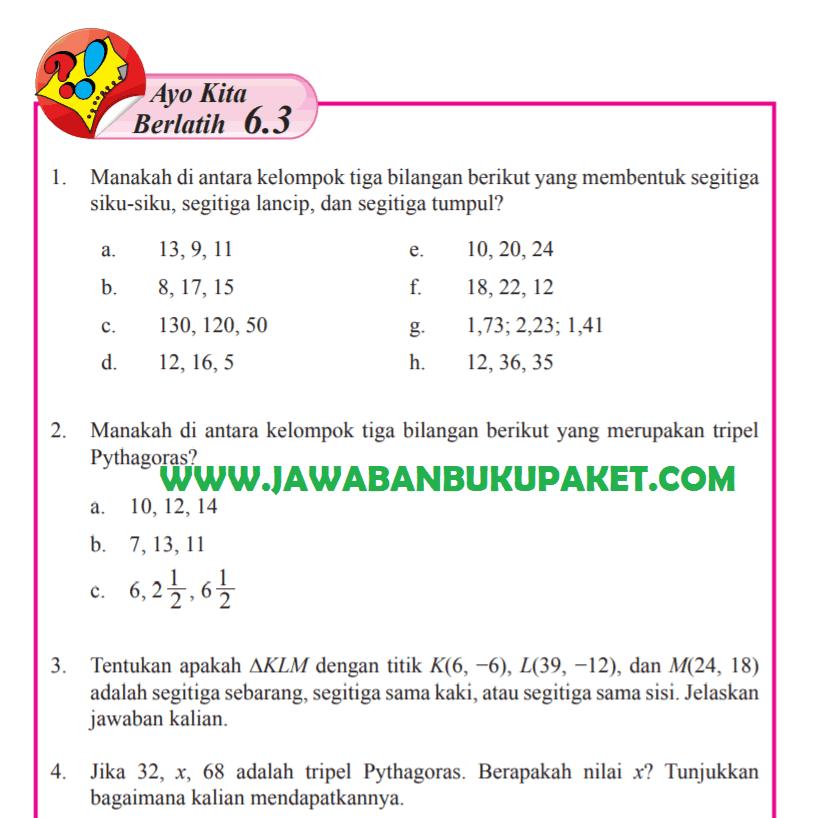 Kunci Jawaban Halaman 31 32 Ayo Kita Berlatih 6.3 Matematika Kelas 8 Semester 2 www.jawabanbukupaket.com