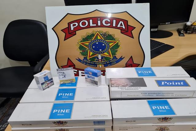 Maços de cigarros foram apreendidos pela PF em Guajará-Mirim