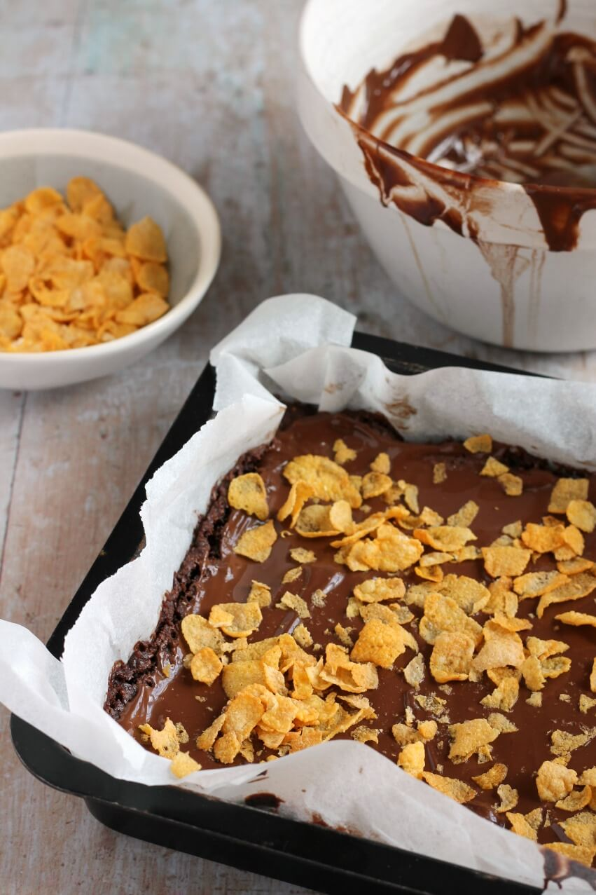 Cornflake Slices with glossy melted chocolate topping