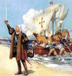 Dibujo de Cristobal Colón desembarcando en América a color
