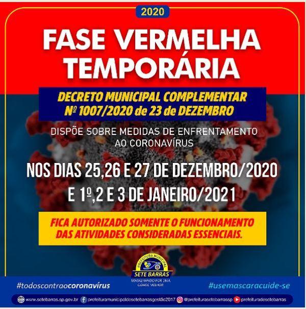 Decreto Municipal em Sete Barras - Fase Vermelha temporária