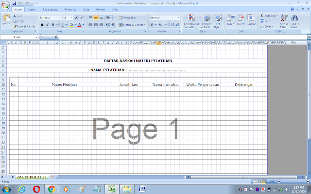 Format daftar naskah materi pelatihan