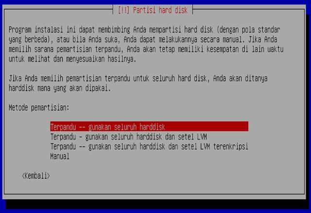 Instalasi Debian - Memilih partisi hard disk