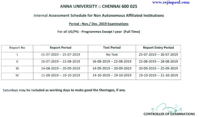 Anna University Internal Assessment Schedule 2019 UG PG