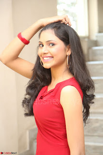Mounika Telugu Actress in Red Sleeveless Dress Black Boots Spicy Pics 068.JPG