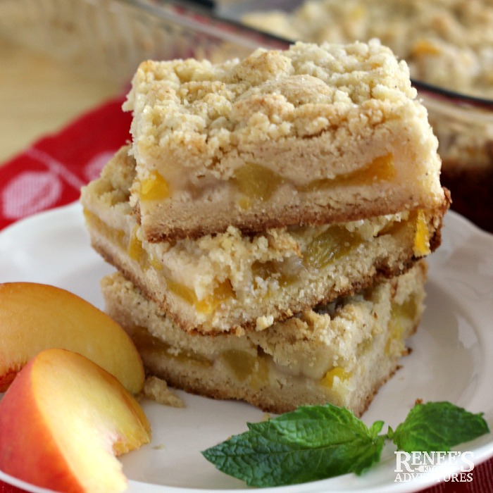 Easy Peach Crumb Bars on a plate