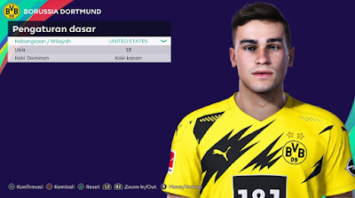 PES 2021 Faces Giovanni Reyna by Rachmad ABs