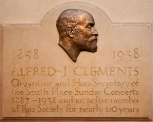 Alfred J Clements - memorial at Conway Hall