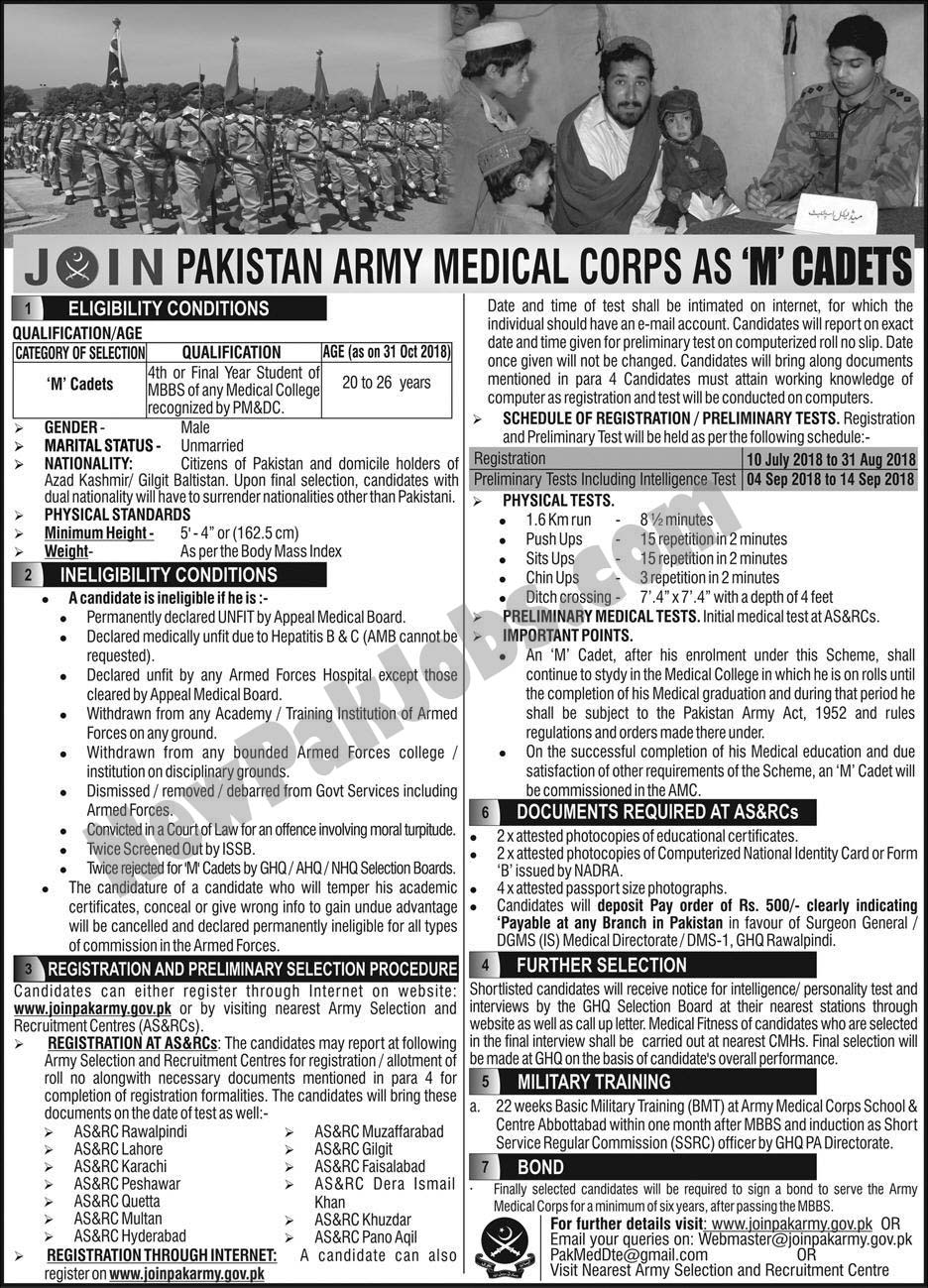 Join Pakistan Army Medical Corps as M Cadets July 2018 joinpakarmy.gov.pk