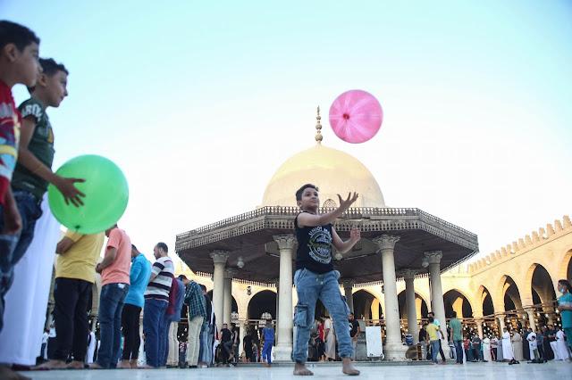 "Eid means balloons even inside Amr Ibn Al-Asa Mosque  ""Alaa Ahmed"""