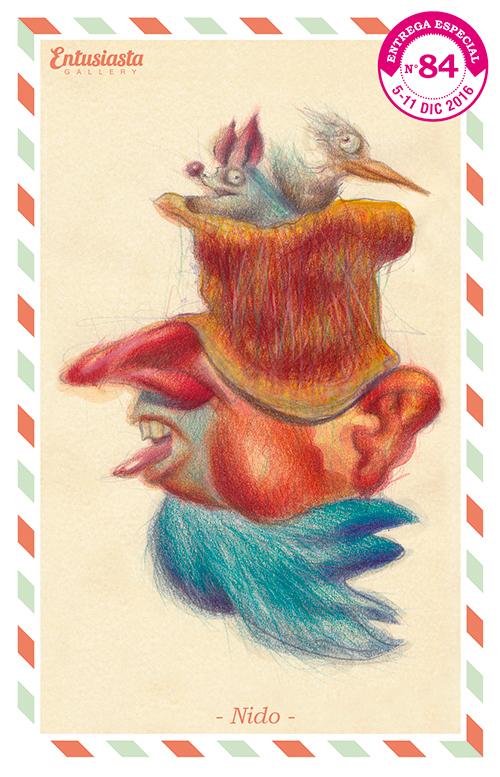 Dibujo de un personaje hombre ave y nido, con un murciélago y un pájaro, realizado en acrílico y lápiz de color.