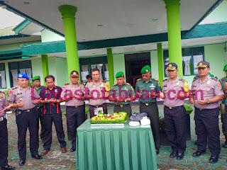 Sampaikan Ucapan HUT TNI ke 74, Pihak Polres Lampung Barat Sambangi Makodim 0422/LB