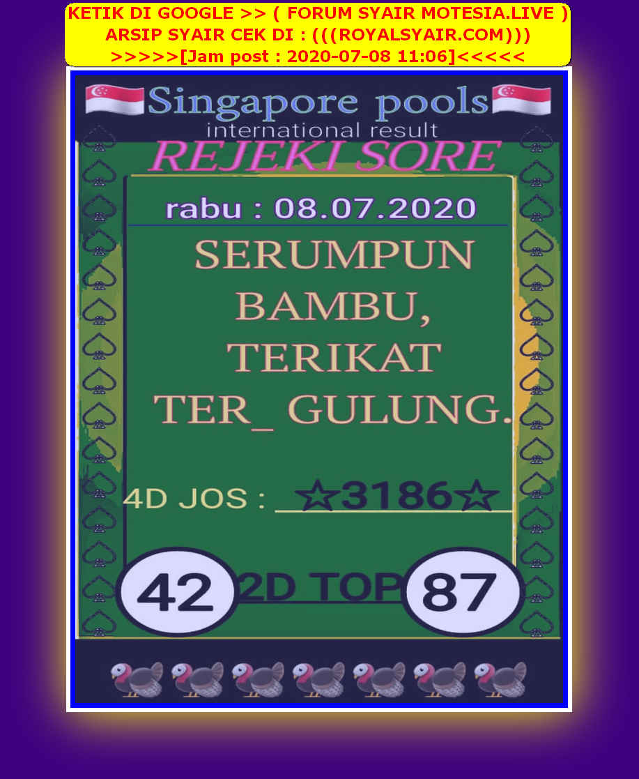 Kode syair Singapore Rabu 8 Juli 2020 31
