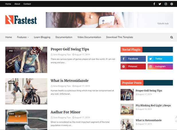 Fastest Blogger Template - Free Blogspot Fast Loading Theme