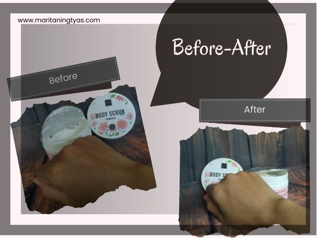 review before after body scrub scarlett whitening