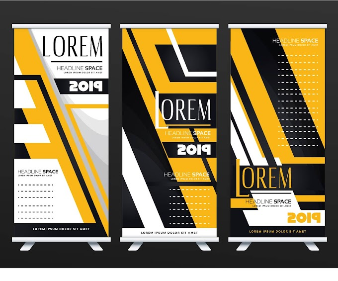 Roll Up Banner templates modern technology decor Free vector